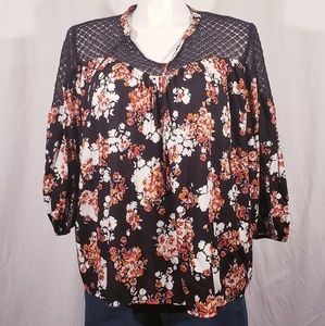 A.N.A Black  Floral Peasant Top size xlarge